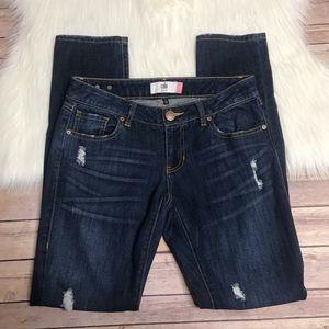 Cabi slim boyfriend jeans distressed mid rise